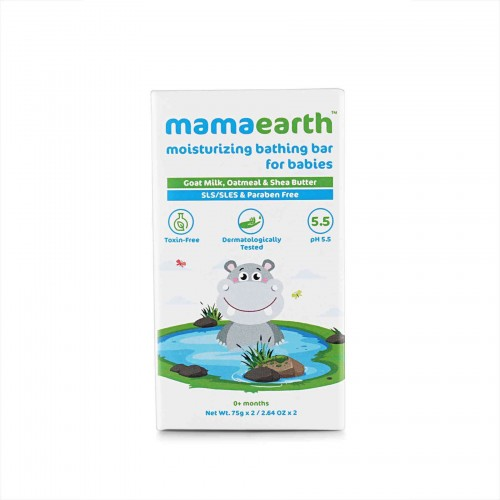 Mamaearth Moisturizing Bathing Bar Soap For Babies, pack of 2*75gm