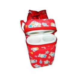 Multi Purpose Baby Diaper Bag with 2 Bottle Warmer Holders (Red)