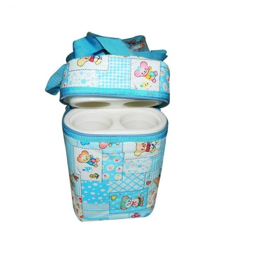 Multi Purpose Baby Diaper Bag with 2 Bottle Warmer Holders (Sky Blue)