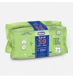 Chicco Soft Cleansing Wipes-Bi-Pack 144 pcs (Super Saver pack)