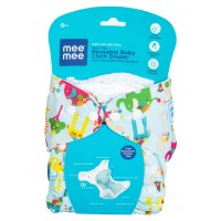 Mee Mee Reusable Baby Cloth Diaper with Adjustable Snap Buttons (Light Blue)