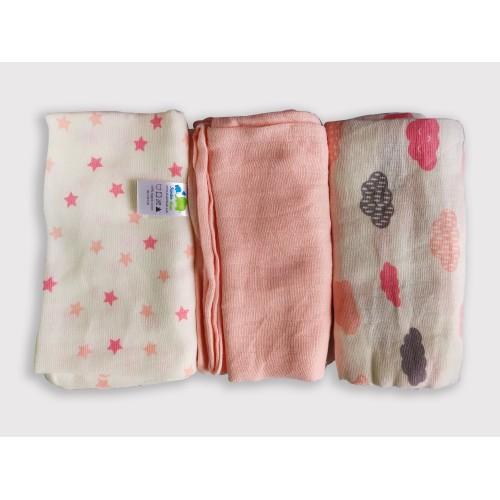 Pink Muslin Flats/Squares (Set Of 3) 80*80 Cms