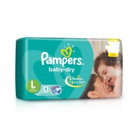 Pampers Baby Dry Diapers Large - 5 Pieces