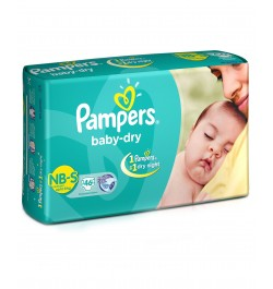 Pampers Baby Dry Diapers New Born To Small - 46 Pieces