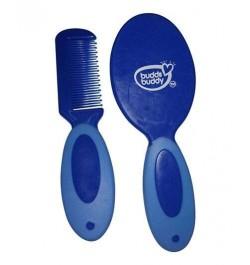 Buddsbuddy Premium Baby Comb & Brush, Blue