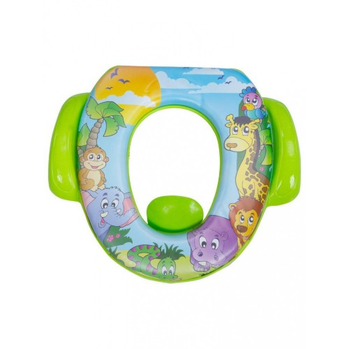 Mee Mee Cushioned Non-Slip Potty Seat with Easy Grip Handles Pee Shield(Green)