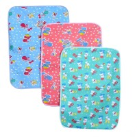 New Born Baby Bed Protector Waterproof Multipurpose Changing Mat Plastic Sheets Baby Changer Sheet Cotton Foam Cushioned Sleeping Mat & Changing Mat Unisex, 0-9 Months, Pack of 3 Pcs.