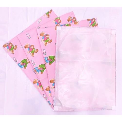 Waterproof Multipurpose 3 in 1 Changing Plastic Sheet Cotton Foam Cushioned Sleeping Mat (0-9 Months) - Bear - Pink