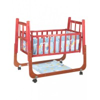 Mee Mee Wooden Baby Cradle with Swing & Mosquito Net (Blue)