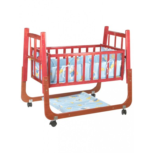 Mee Mee Wooden Baby Cradle with Swing & Mosquito Net (Blue)