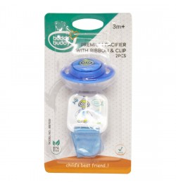 Buddsbuddy Premium Pacifier with Ribbon & Clip, Blue