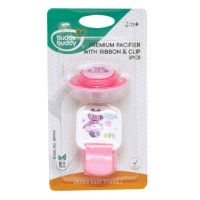 Buddsbuddy Premium Pacifier with Ribbon & Clip, Pink
