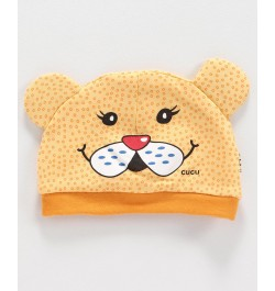 Cucumber Cap Kitty Face Print - Yellow
