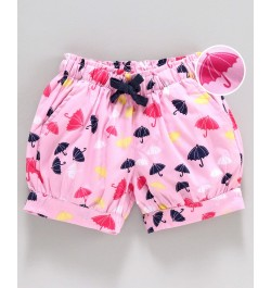 Cucumber Cotton Shorts Umbrella Print - Pink