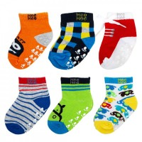 Mee Mee Cozy Feet Anti Skid Cotton Baby Socks (Pack of 6) (Colours May Vary) (0-6 m)
