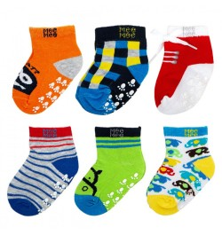 Mee Mee Cozy Feet Anti Skid Cotton Baby Socks (Pack of 6) (Colours May Vary) (6-12 m)