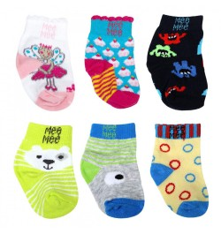 Mee Mee Cozy Feet Cotton Baby Socks (Pack of 6) (Colours May Vary) (0-6 m)