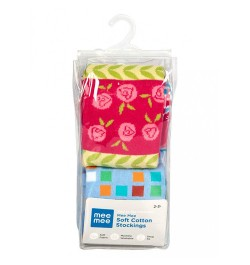 Mee Mee Soft Cotton Baby Stockings (Blue & Stripes) (2 y)