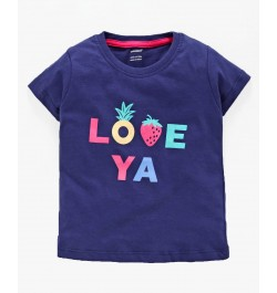 Cucumber Half Sleeves Tee Love Print - Navy