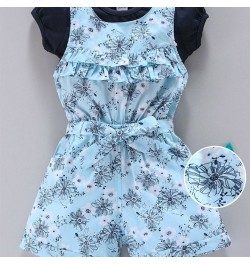 Doreme Sleeveless Dungaree With Tee Floral Print - Blue