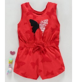 Doreme Sleeveless Jumpsuit Butterfly Print - Red
