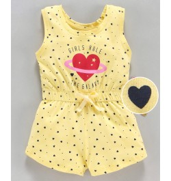 Doreme Sleeveless Jumpsuit Star & Heart Print - Yellow
