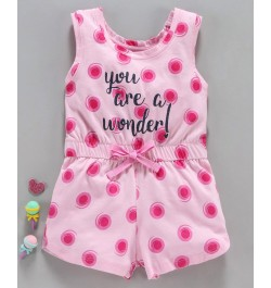 Doreme Sleeveless Jumpsuit Text Print - Light Pink