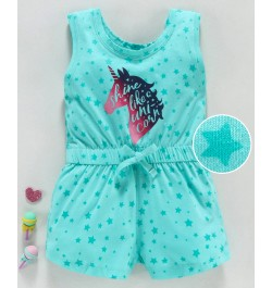 Doreme Sleeveless Jumpsuit Unicorn Print - Sea Green