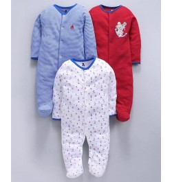 I Bears Full Sleeves Footed Rompers Pack of 3 - Blue Red White