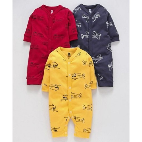 I Bears Full Sleeves Rompers Pack of 3 - Blue Red Yellow