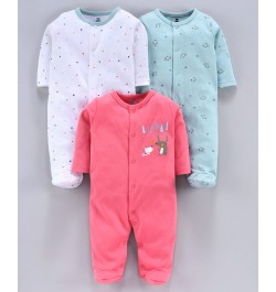 I Bears Full Sleeves Footed Rompers Pack of 3 - Pink White Blue