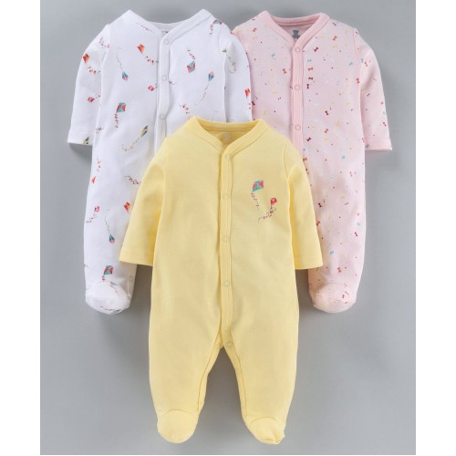 I Bears Full Sleeves Footed Rompers Pack of 3 - Pink White Yellow