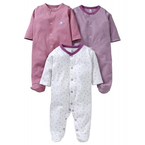 I Bears Full Sleeves Footed Rompers Sets Pack of -3