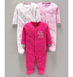 I Bears Full Sleeves Sleepsuit Bear Print Pack of 3 - Pink
