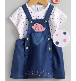 Cucumber Frock with Half Sleeves Inner Tee Polka Dot Print - Navy White