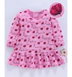 Doreme Full Sleeves Frock Floral Print - Pink