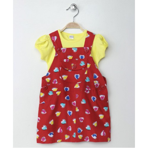 Doreme Short Sleeves Frock With Inner Heart Print - Red Yellow