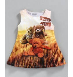 Doreme Sleeveless Frock Bear Print - Brown Yellow