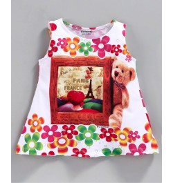 Doreme Sleeveless Frock Bear Print - Pink White