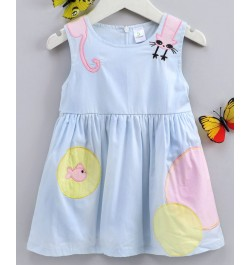 Doreme Sleeveless Frock Cat & Fish Bowl Patch - Light Blue