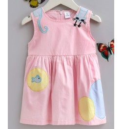 Doreme Sleeveless Frock Cat & Fish Bowl Patch - Light Pink