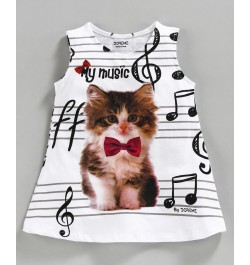 Doreme Sleeveless Frock Kitty Print - White