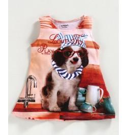 Doreme Sleeveless Frock Puppy Print - Peach