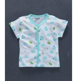 Doreme Half Sleeves Vest Animal Print - White Blue