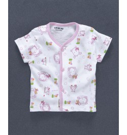 Doreme Half Sleeves Vest Animal Print - White Pink