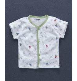 Doreme Half Sleeves Vest Bunny Print - White Green