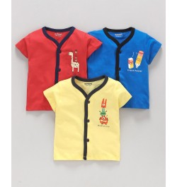 Doreme Half Sleeves Vests Pack of 3 - Red Royal Blue Yellow