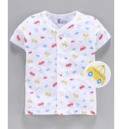 Pink Rabbit 100% Cotton Half Sleeves Vest Cars Print - White