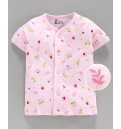 Pink Rabbit 100% Cotton Half Sleeves Vest Floral Print - Pink