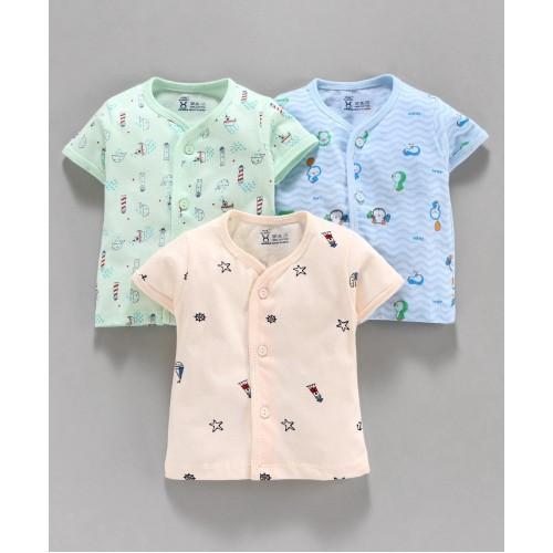 Pink Rabbit Half Sleeves Printed Vest Pack of 3 - Peach Blue Green